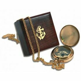 Brass Pocket Compass in Box