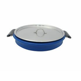 Collapsible Cooking Pot, Blue w/ Stainless Lid