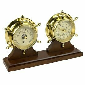 Nauticalia Neptune Clock & Barometer Set - Brass with Mahogany Plinth