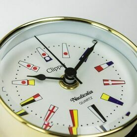 Nautialia Clipper Code Flag Clock (QuickFix) Brass