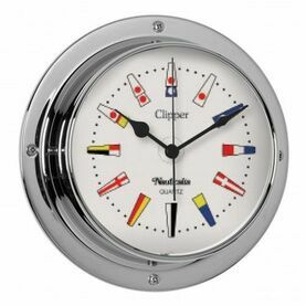 Nauticalia Clipper Code Flag Clock (QuickFix) Chrome