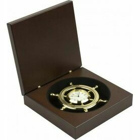 Nauticalia Brass Ship Wheel Clock In Wooden Box
