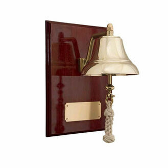"Weems & Plath 6"" Brass Bell Mounted on High Gloss Mahogany Plaque"