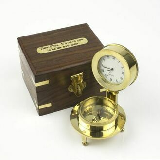 "Compass and Clock in box ""Time Flies"""