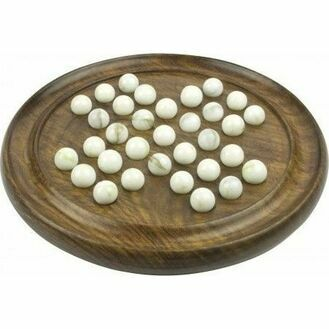 Nauticalia Wooden Solitaire Board & Marbles - 25cm