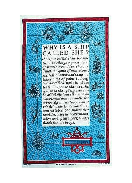 Nauticalia Galley Dish Cloth - Why is a ship Called She?